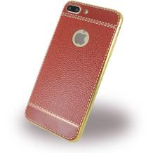 UreParts Kunstleder Cover / Handyhülle - Apple iPhone 7 Plus - Braun/Gold
