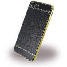 UreParts Kunstleder Cover / Handyhülle - Apple iPhone 7 Plus - Schwarz/Gold