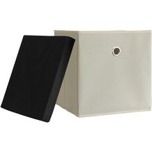 "VCM 3er-Set Faltbox Klappbox ""Boxas"" | Sammelbox Stoffbox Weiß-Natur"
