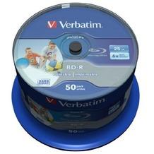 Verbatim BD-R 25GB Verbatim 6x DATALIFE Inkjet white HTL 50er Cakebox