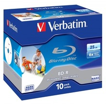 Verbatim BD-R 25GB Verbatim 6x Inkjet white Full Surface 10er Jewel Case