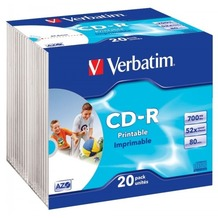 Verbatim CD-R 80 Verbatim 52x DLP Inkjet white Full Surface 20 Slim Case