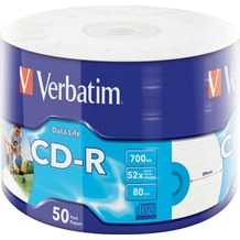 Verbatim CD-R 80Min/700MB/52x Eco-Pack (50 Disc) DataLife, InkJet Printable, White Surface