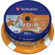 Verbatim DVD-R 4.7GB 16x Inkjet white Full Surface 25er Cakebox