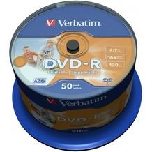 Verbatim DVD-R 4.7GB 16x Inkjet white Full Surface 50er Cakebox