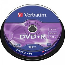 Verbatim DVD+R 4.7GB 16x 10er Cakebox