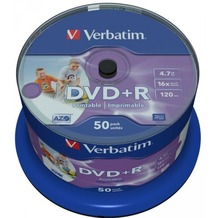 Verbatim DVD+R 4.7GB 16x Inkjet white Full Surface 50er Cakebox