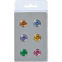 Walther Design Magnete, 6 x Smiley, 6 Farben sortiert