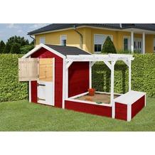 Weka Kinderspielplatz 818, rot/weiss, 21 mm, bestehend aus Kinderspielhaus, Sandkasten, Pergola und Spielzeugtruhe mit Deckel
