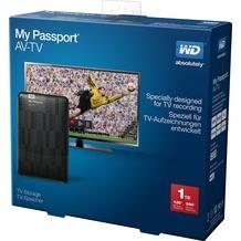 "Western Digital Festplatte 1TB, USB 3.0, 6.35 (2.5""), extern My Passport AV-TV, Schwarz, Full HD 1080P, Retail"