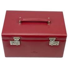 WINDROSE Merino Schmuckkoffer mit 3 Schubladen 5 hellrot