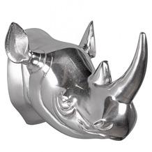 Wohnling Deko Geweih Nashorn aus Aluminium Wanddekoration Farbe Silber