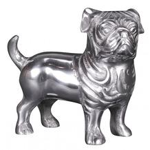 Wohnling Deko Hund BULLDOGGE Aluminium silbern 19 cm handgefertigt