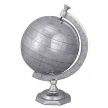 Wohnling Deko Weltkugel Globe 22cm Aluminium silbern