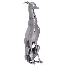 Wohnling Dekoration Design Dog aus Aluminium silbern Windhund Skulptur Hundestatue