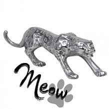 Wohnling Design Deko Figur Panther 60 cm aus Aluminium Farbe Silber