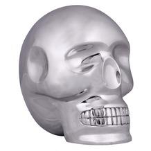 Wohnling Design XXL Deko Skull Aluminium silbern Schädel Totenkopf