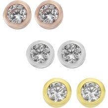 ZEEme Basic Ohrstecker 925/- Sterling Silber 3er Set Zirkonia mehrfarbig