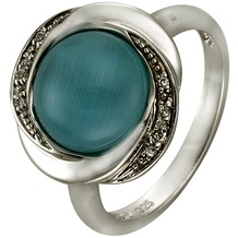 ZEEme Silver Ring 925/- Sterling Silber syn. Katzenauge weiß 52 (16,6)