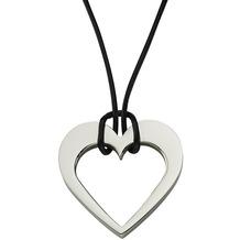 ZEEme Stainless Steel Collier Lederband mit Edelstahl-Herz schwarz