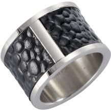 ZEEme Stainless Steel Ring Edelstahl Kunststoff schwarz weiß 50 (15,9)