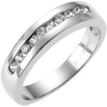 ZEEme Stainless Steel Ring Edelstahl Zirkonia weiß grau 52 (16,6)