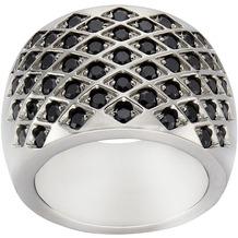 ZEEme Stainless Steel Ring Edelstahl Kristall schwarz 52 (16,6)