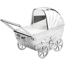 Zilverstad Spardose Kinderwagen mit Gravurplatter 11x5,5x10cm versilbert und anlauf geschützt
