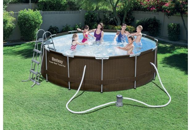 bestway frame pool steel pro set 366 x 100 cm in rattanoptik ebay. Black Bedroom Furniture Sets. Home Design Ideas
