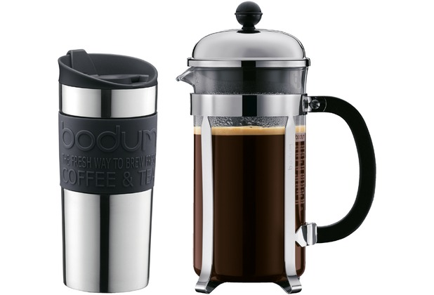 bodum chambord set kaffebereiter 1l und travel mug schwarz ebay. Black Bedroom Furniture Sets. Home Design Ideas
