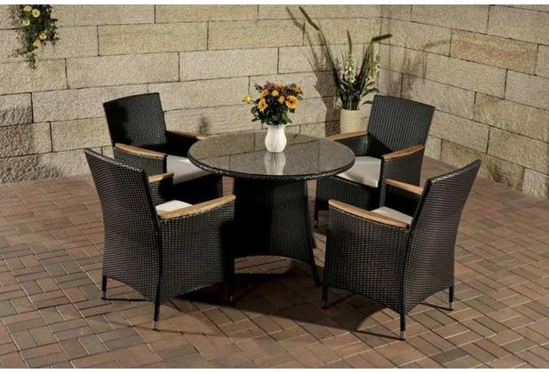 Gartenmobel Holz Ikea : CLP Polyrattan Sitzgruppe SANREMO (4 Stühle mit rundem Tisch Ø 100
