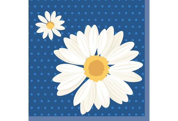 duni tissue servietten 33 x 33 cm my daisy blue 20 st ck. Black Bedroom Furniture Sets. Home Design Ideas
