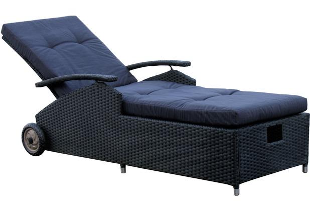 famous home rattan liege schwarz mit kissen gartenliege liegestuhl sonnenliege r ebay. Black Bedroom Furniture Sets. Home Design Ideas