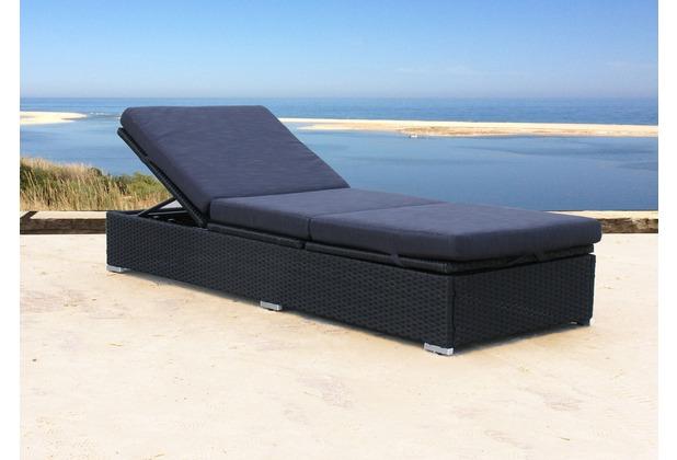 famous home rattan liege schwarz mit kissen schwarz gartenliege sonnenliege rela ebay. Black Bedroom Furniture Sets. Home Design Ideas