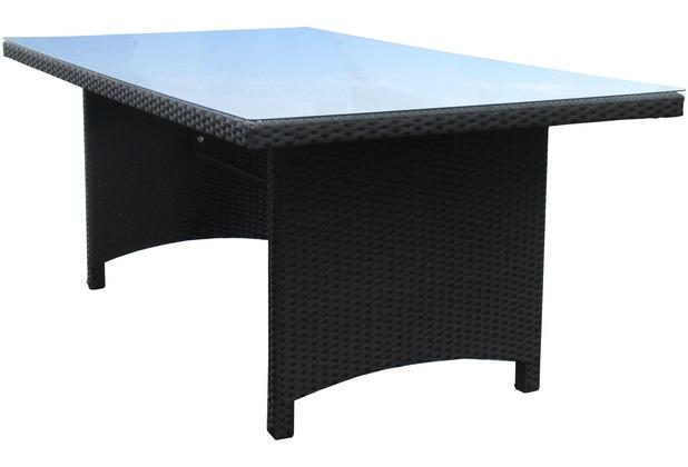 famous home tisch rattan schwarz 180x100cm glas braun ebay. Black Bedroom Furniture Sets. Home Design Ideas