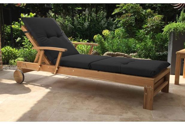 grasekamp gartenliege teak mit kissen anthrazit liegestuhl sonnenliege relaxlieg ebay. Black Bedroom Furniture Sets. Home Design Ideas
