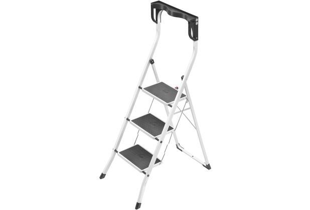 hailo safety plus stahl klapptritt 3 stahl stufen weiss. Black Bedroom Furniture Sets. Home Design Ideas