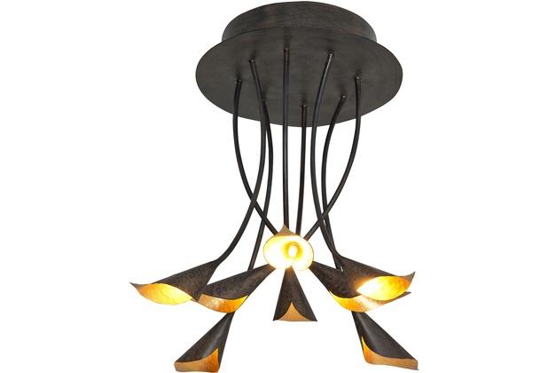 holl nder deckenleuchte 8 flg calca eisen braun schwarz. Black Bedroom Furniture Sets. Home Design Ideas