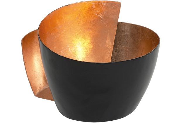 holl nder windlicht 1 flg zucchero metall schwarz innen blattverkupfert. Black Bedroom Furniture Sets. Home Design Ideas