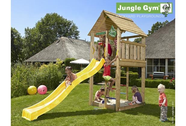 jungle gym spielturm jungle cabin mit langer wavy star rutsche mit wasseranschluss. Black Bedroom Furniture Sets. Home Design Ideas