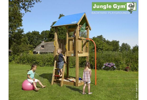 jungle gym spielturm jungle castle mit roter feuerwehr rutschstange. Black Bedroom Furniture Sets. Home Design Ideas