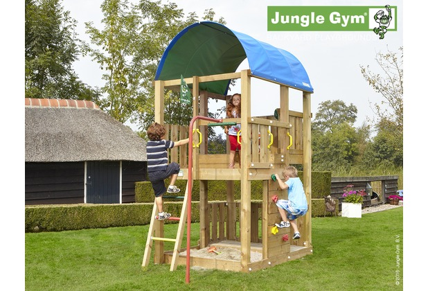 jungle gym spielturm jungle farm mit roter feuerwehr rutschstange. Black Bedroom Furniture Sets. Home Design Ideas