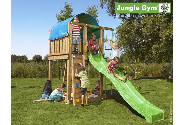 jungle gym spielturm jungle villa mit langer wavy star rutsche mit wasseranschluss. Black Bedroom Furniture Sets. Home Design Ideas