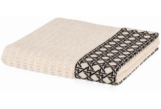 m ve handtuch vienna mesh allover mit uni hoch tief struktur nature black 50 x 100 cm. Black Bedroom Furniture Sets. Home Design Ideas