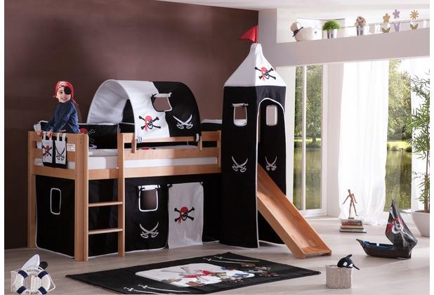 relita halbhochbett alex mit rutsche turm lackiert natur. Black Bedroom Furniture Sets. Home Design Ideas