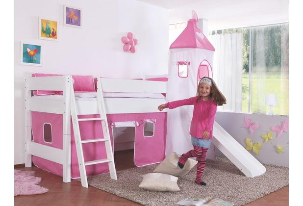 relita halbhochbett kim mit rutsche turm lackiert wei. Black Bedroom Furniture Sets. Home Design Ideas