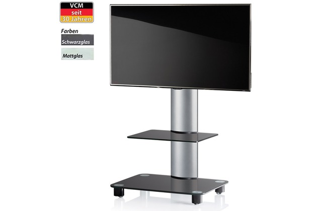tv standfu bilano silber mit zwischenboden schwarzglas inkl rollen. Black Bedroom Furniture Sets. Home Design Ideas