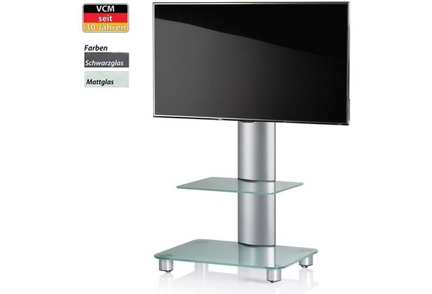 tv standfu tosal silber mattglas mit zwischenboden inkl. Black Bedroom Furniture Sets. Home Design Ideas