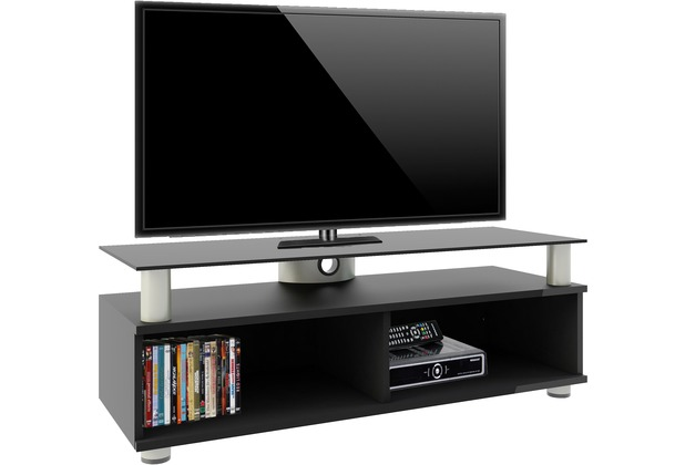 vcm tv lowboard clunis rack tisch holz schrank schwarzlack. Black Bedroom Furniture Sets. Home Design Ideas