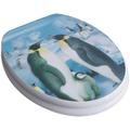 adob WC Sitz mit Holzkern und 3D Motiv Pinguin, Absenkautomatik